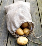 Small Image of Hessian Drawstring Potato Sack Easy Carry 30 x 45cm 5kg Onion Veg Storage Bag