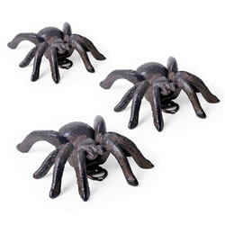 Small Image of Set of Three Small Vintage Cast Iron Tarantula Wall Mountable Spider Ornaments