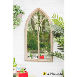 Small Image of Stone Effect Steel Church Window Wall Mirror