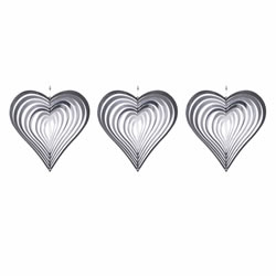 Small Image of Set of Three Heart Shaped Steel Windspinners for the Garden