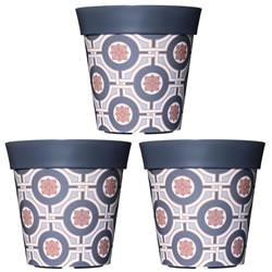 Small Image of 3 x 22cm Grey Tile Plastic Garden Planter 5L Flowerpot by Hum