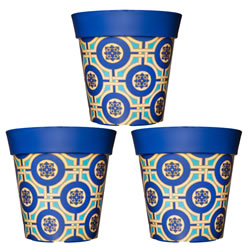 Small Image of 3 x 22cm Blue & Yellow Tile Plastic Garden Planter 5L Flowerpot by Hum