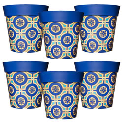 Small Image of 6 x 22cm Blue & Yellow Tile Plastic Garden Planter 5L Flowerpot by Hum