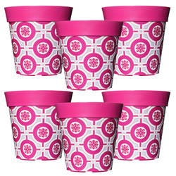 Small Image of 6 x 22cm Pink Tile Plastic Garden Planter 5L Flowerpot by Hum