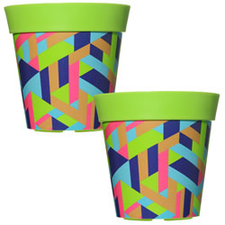 Small Image of 2 x 22cm Green Trapezoid Plastic Garden Planter 5L Flowerpot by Hum