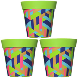 Small Image of 3 x 22cm Green Trapezoid Plastic Garden Planter 5L Flowerpot by Hum
