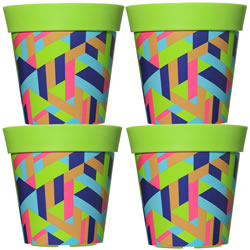 Small Image of 4 x 22cm Green Trapezoid Plastic Garden Planter 5L Flowerpot by Hum