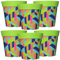 Small Image of 6 x 22cm Green Trapezoid Plastic Garden Planter 5L Flowerpot by Hum