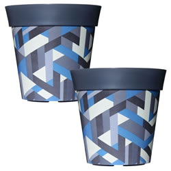 Small Image of 2 x 22cm Grey & Blue Trapezoid Plastic Garden Planter 5L Flowerpot by Hum