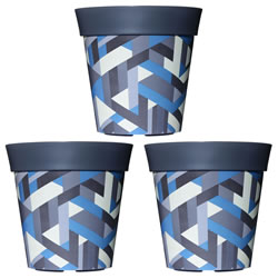 Small Image of 3 x 22cm Grey & Blue Trapezoid Plastic Garden Planter 5L Flowerpot by Hum
