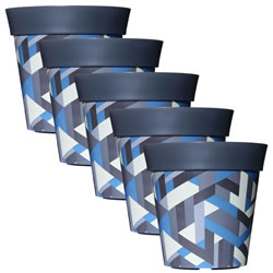 Small Image of 5 x 22cm Grey & Blue Trapezoid Plastic Garden Planter 5L Flowerpot by Hum