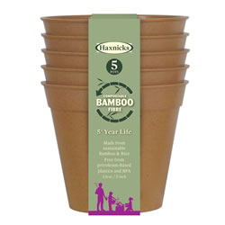 Small Image of Haxnicks Terracotta 13cm Bamboo Plant Pots Biodegradable Compostable (Pack of 15)