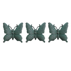 Small Image of Set of Three Wall Mountable Verdigris Cast Iron Butterfly Garden Ornaments