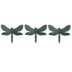 Small Image of Set of Three Wall Mountable Verdigris Cast Iron Dragonfly Garden Ornaments