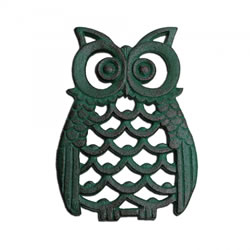 Small Image of Verdigris Finish Cast Iron Owl Wall Art Ornament