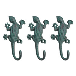Small Image of Set of Three Verdigris Cast Iron Lizard Accessory Hook Garden Ornaments