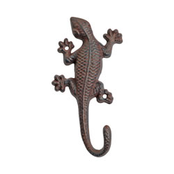 Small Image of Vintage Finish Cast Iron Lizard Accessory Hook Garden Ornament