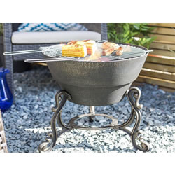 Small Image of La Hacienda Cast Iron Volta Firepit BBQ Grill