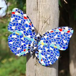 Small Image of Blue Mosaic Coloured Wall Mountable Butterfly Garden Wall Art Ornament