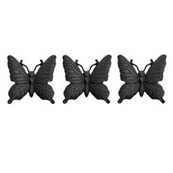 Small Image of Set of Three Wall Mountable Cast Iron Butterfly Garden Ornaments in Black Finish