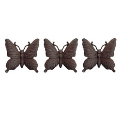 Small Image of Set of Three Wall Mountable Vintage Finish Cast Iron Butterfly Garden Ornament