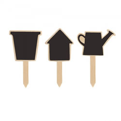 Small Image of Set of Three Wooden Blackboard 4.5in Garden Labels