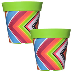 Small Image of 2 x 22cm Green Zigzag Plastic Garden Planter 5L Flowerpot by Hum