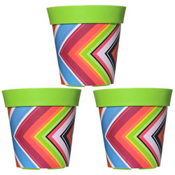 Small Image of 3 x 22cm Green Zigzag Plastic Garden Planter 5L Flowerpot by Hum