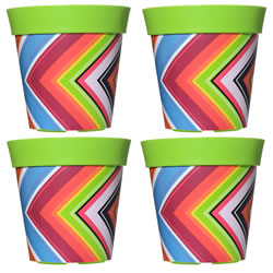 Small Image of 4 x 22cm Green Zigzag Plastic Garden Planter 5L Flowerpot by Hum
