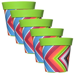 Small Image of 5 x 22cm Green Zigzag Plastic Garden Planter 5L Flowerpot by Hum