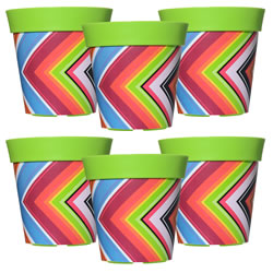 Small Image of 6 x 22cm Green Zigzag Plastic Garden Planter 5L Flowerpot by Hum