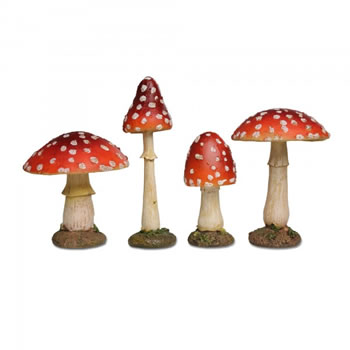 Image of Set Of Four Coloured Resin Mushroom or Toadstool Garden Ornaments