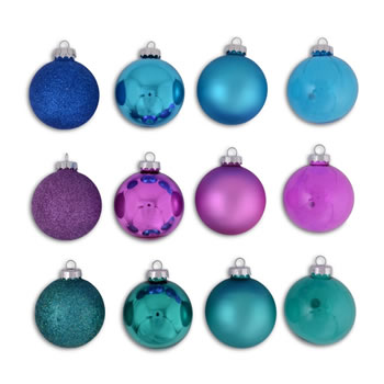Image of Set Of Twelve Blue, Purple & Green Coloured Christmas Tree Baubles