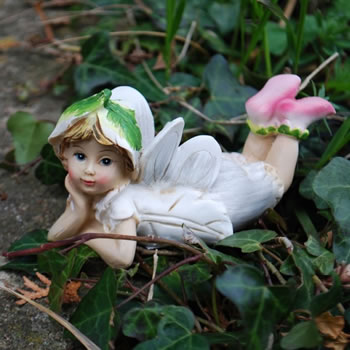 Extra image of Set Of Two Laying Flower Fairy Resin Garden Ornaments