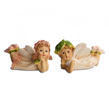 Image of Set Of Two Laying Flower Fairy Resin Garden Ornaments