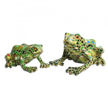 Image of Set Of Two Mosaic Coloured Resin Frog Garden Ornaments