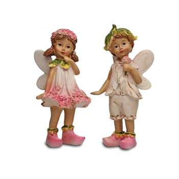 Image of Set Of Two Standing Flower Fairy Resin Garden Ornaments
