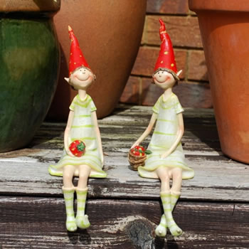 Extra image of Set Of Two Sitting Strawberry Pixie Garden Ornaments In Coloured Resin