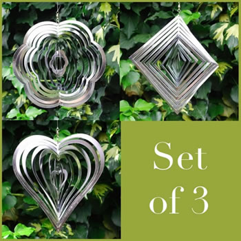 Image of Set Of Three Steel Windspinner For The Garden Flower, Diamond & Heart Shaped