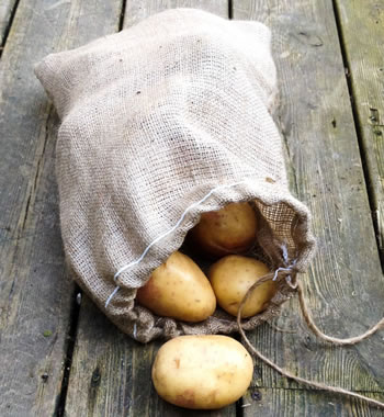 Image of Hessian Drawstring Potato and Onion Sack Easy Carry 30 x 45cm 5kg