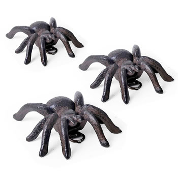 Image of Set of Three Small Vintage Cast Iron Tarantula Wall Mountable Spider Ornaments