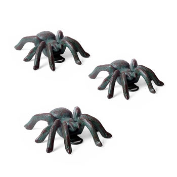 Image of 3 Small Wall Mountable Cast Iron Verdigris Tarantula Spider Ornaments