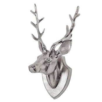 Image of Aluminium Stag's Head on a Plaque Feature Wall Art