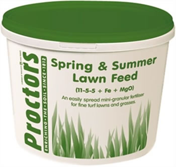 Image of 5kg tub of Proctors Spring and Summer Lawn grass feed fertiliser moss killer