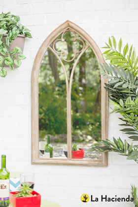 Image of Stone Effect Steel Church Window Wall Mirror