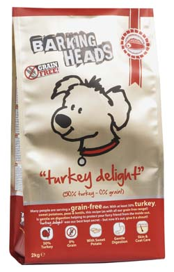 Image of Barking Heads Turkey Delight GRAIN FREE 2KG made with 50% turkey content