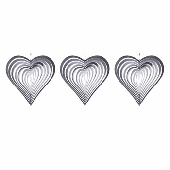 Image of Set of Three Heart Shaped Steel Windspinners for the Garden