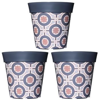 Image of 3 x 22cm Grey Tile Plastic Garden Planter 5L Flowerpot by Hum