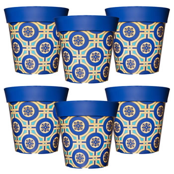 Image of 6 x 22cm Blue & Yellow Tile Plastic Garden Planter 5L Flowerpot by Hum
