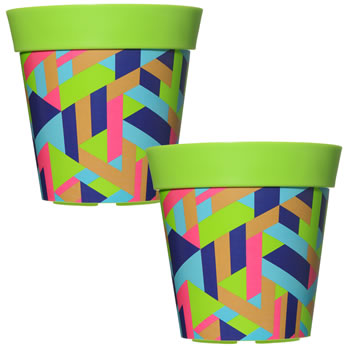 Image of 2 x 22cm Green Trapezoid Plastic Garden Planter 5L Flowerpot by Hum